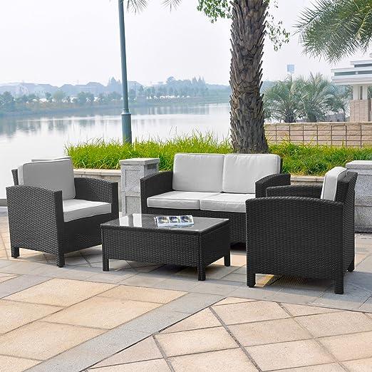 LD Polirratán Muebles de Jardín Asiento Grupo Muebles Lounge Taburete Mesa Sillón Sofá: Amazon.es: Jardín