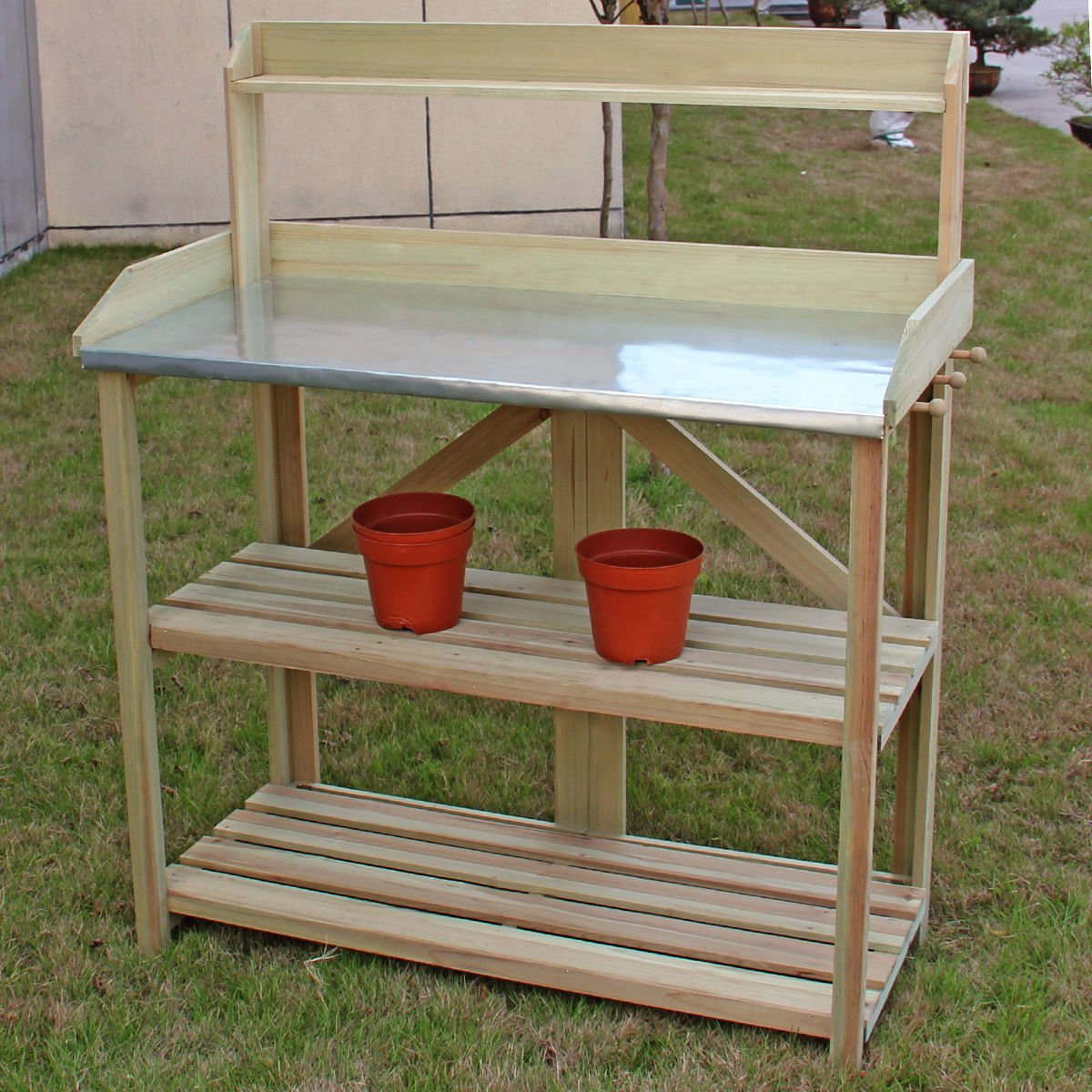 Potting Work Bench Station Planting Workbench With 3 Shelf Outdoor Garden Wooden by White Bear & Brown Rabbit (Image #7)