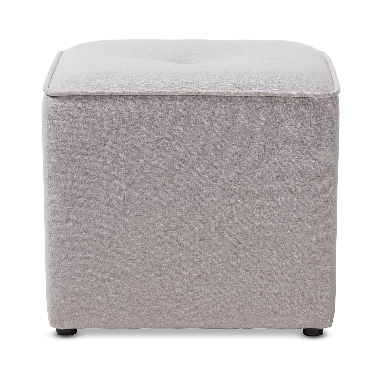 e63c543d18695 Amazon.com  Baxton Studio Corinne Modern and Contemporary Light Grey Fabric Upholstered  Ottoman Contemporary Grey Fabric Dacron 100%