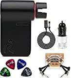 Roadie RD100 Automatic Guitar Tuner Bundle with Roadie RP01 Clip On Pouch, Blucoil Micro USB Car Charger, 2-Pack of Pedal Patch Cables, and 4-Pack of Celluloid Guitar Picks
