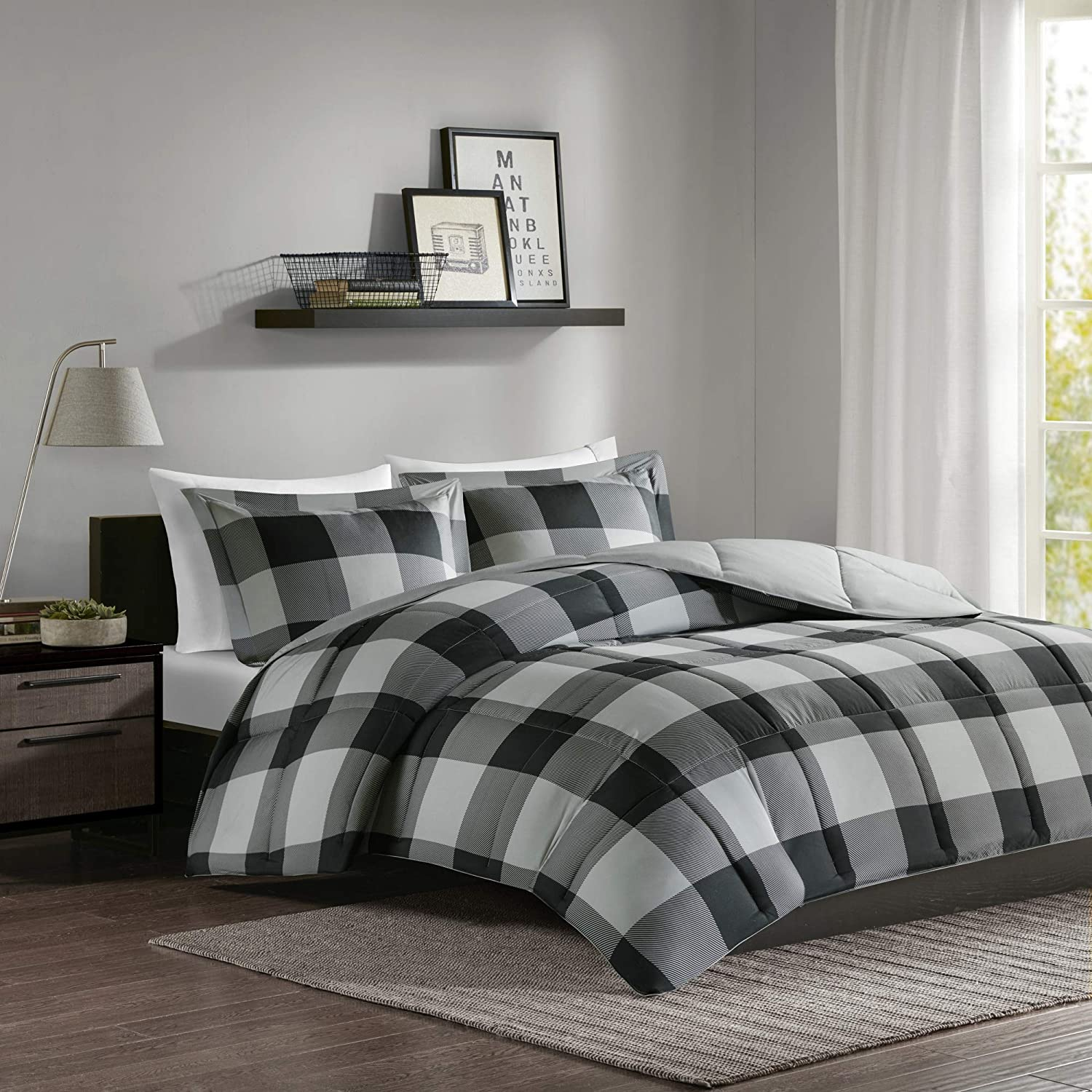 Madison Park Essentials Plaid Comforter Set Bedding Sets Modern All Season Bedding Set with Matching Sham, Full/Queen, Grey/Black