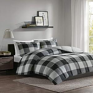 Madison Park Essentials Plaid Comforter Set Bedding Sets Modern All Season Bedding Set with Matching Sham, Full/Queen, Grey/Black