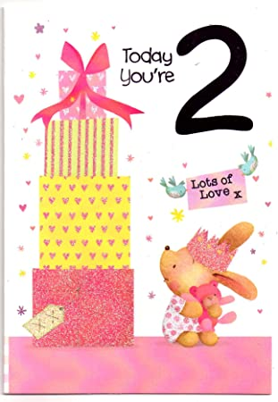 Childrens Birthday Card For Two 2 Year Old Girl