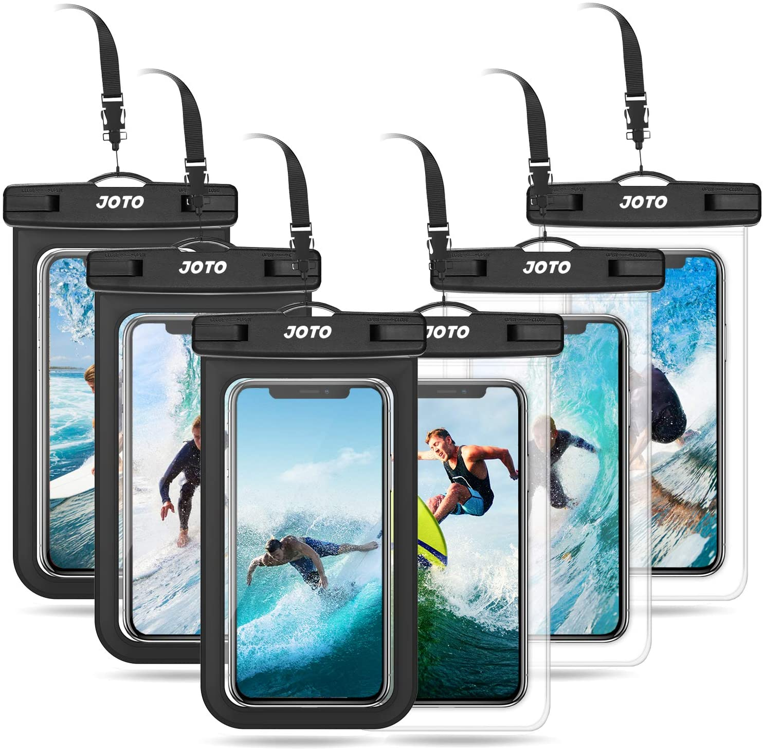 JOTO Universal Waterproof Pouch Cellphone Dry Bag Case for iPhone 12 Pro Max 11 Pro Max Xs Max XR XS X 8 7 6S Plus, Galaxy S10 S9/S9 +/S8/S8 +/Note 10+ 10 9, Pixel 4 XL up to 7