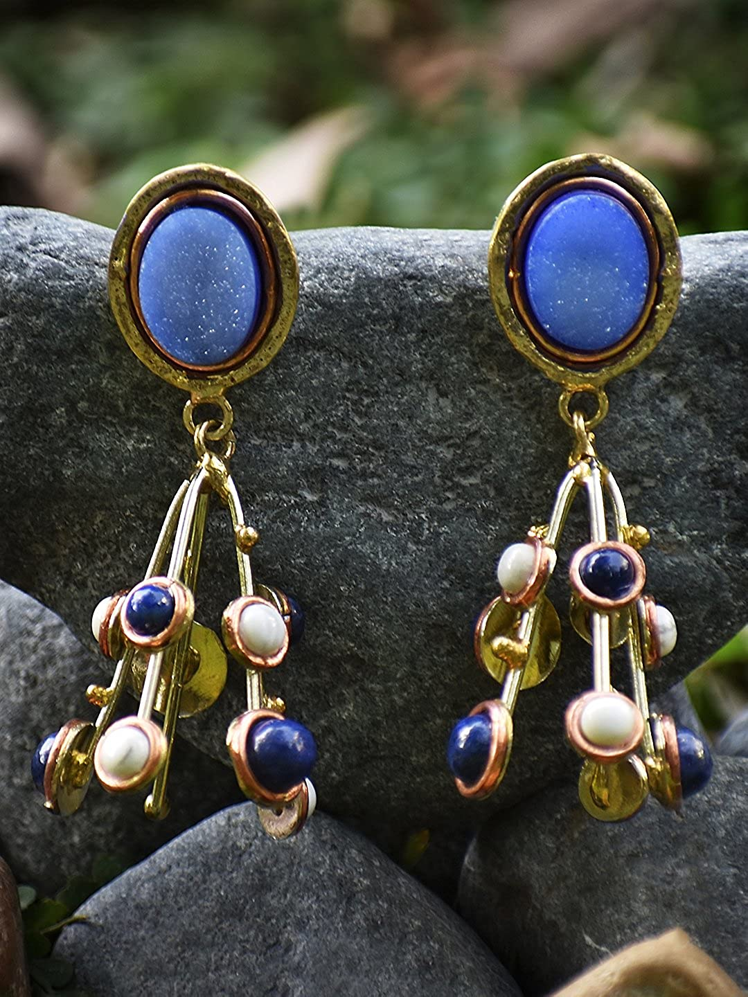 Zerokaata/ Fashion Jewellery Blue Druzy Lapis Lazuli and Howlite Handmade Jewellery Earrings For Women /& Girls