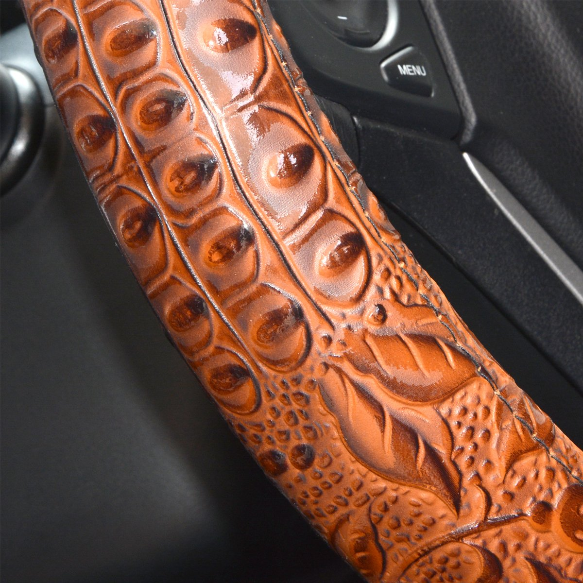 ZYHW Car Steering Wheel Cover Universal 15 Inch Middle Size Auto Anti-Slip Leather Wheel Protector with Flower Grain Design Blue Style