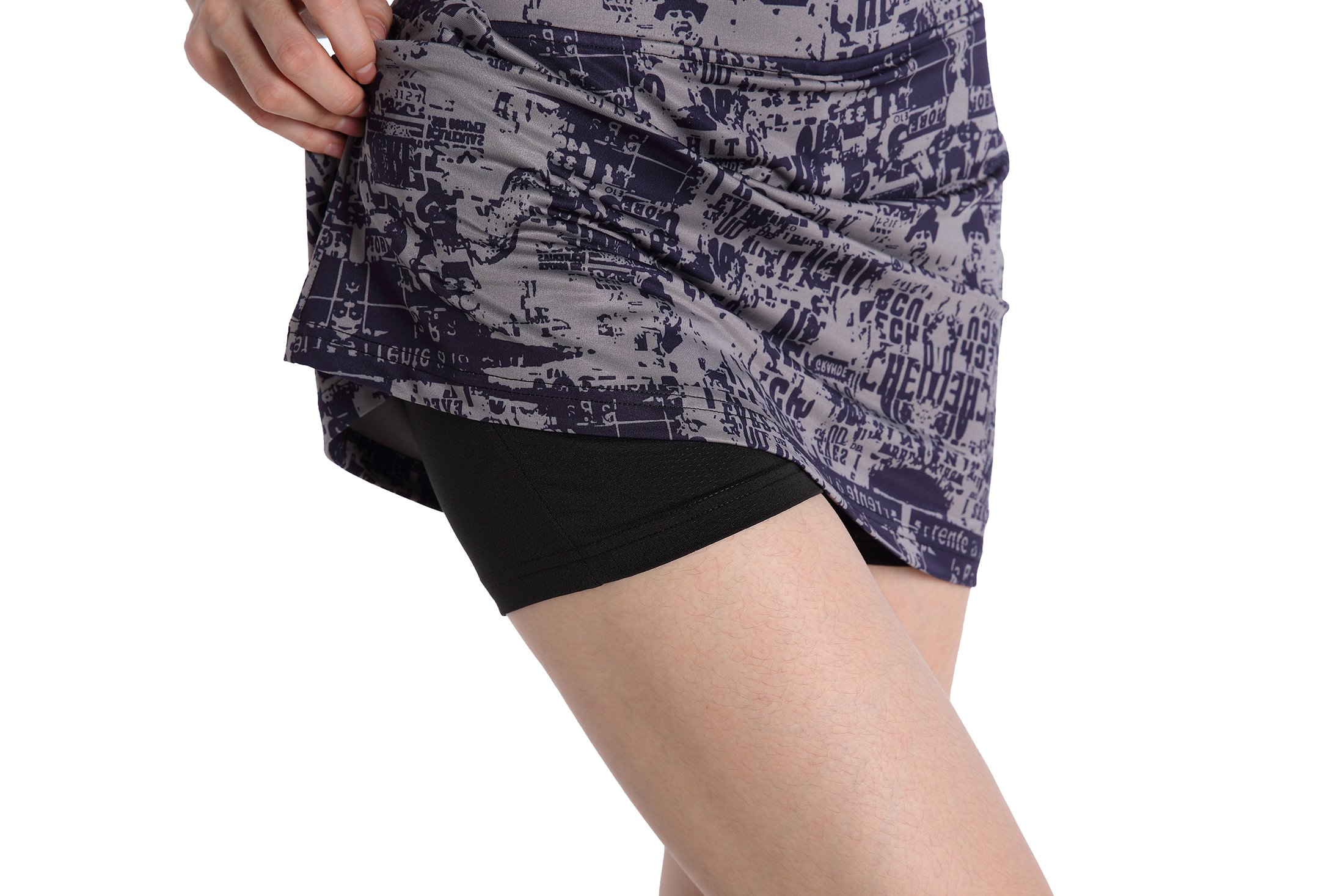 EAST HONG Women's Running Skirt Workout Tennis Golf Skort (L, Purple(Printing)) by EAST HONG