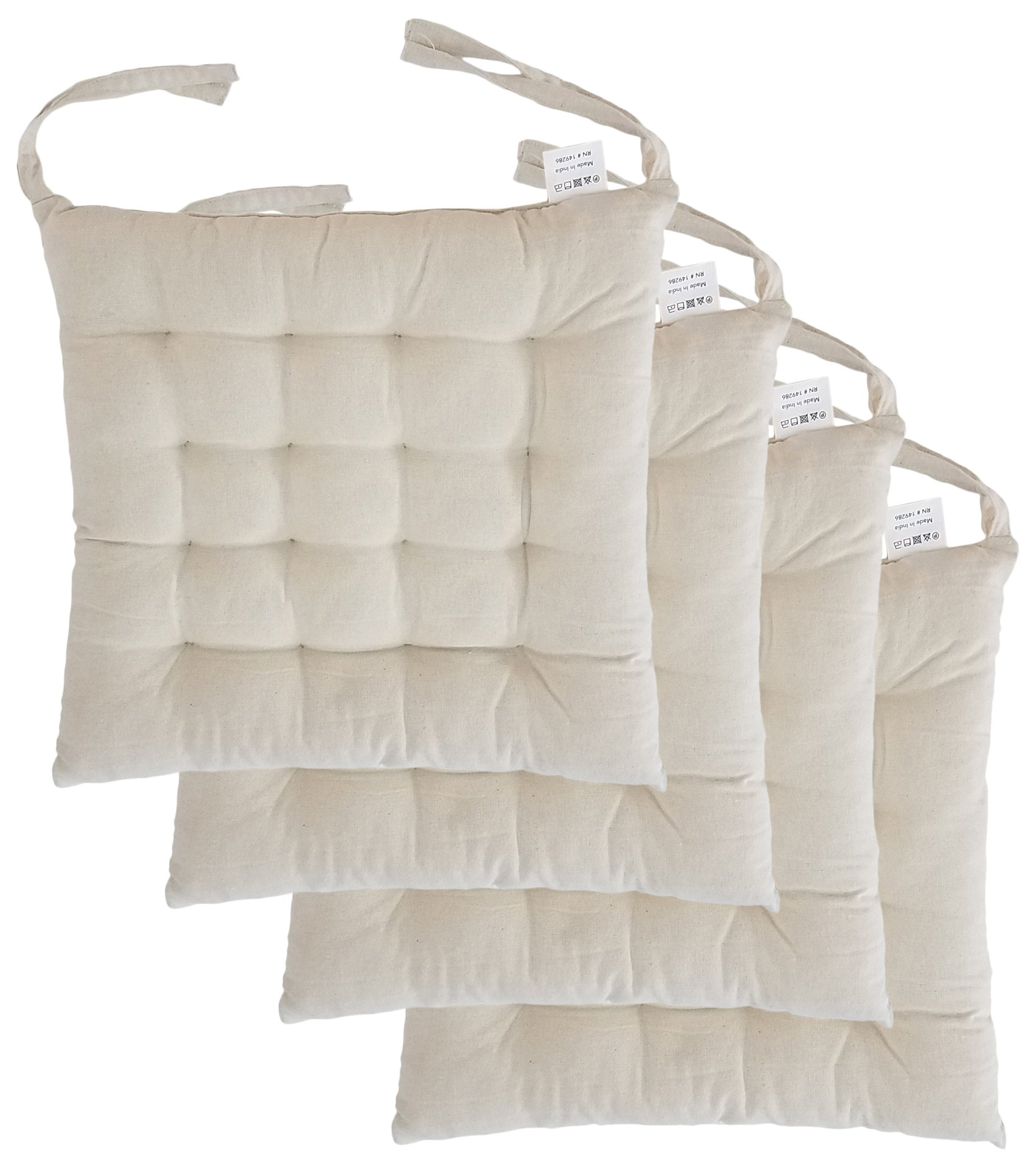 Cottone 100% Cotton Chair Pads w/Ties (Set of 4) | 16'' x 15'' Square | Extra-Comfortable & Soft Seat Cushions | Ergonomic Pillows for Rocking, Dining, Patio, Camping, Kitchen Chairs & More,  White, Off White