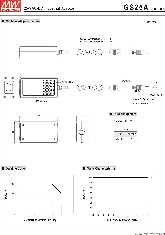 Mean Well Original GS25B12-P1J AC-DC Green Industrial Adaptor 12V 2.08A 25W