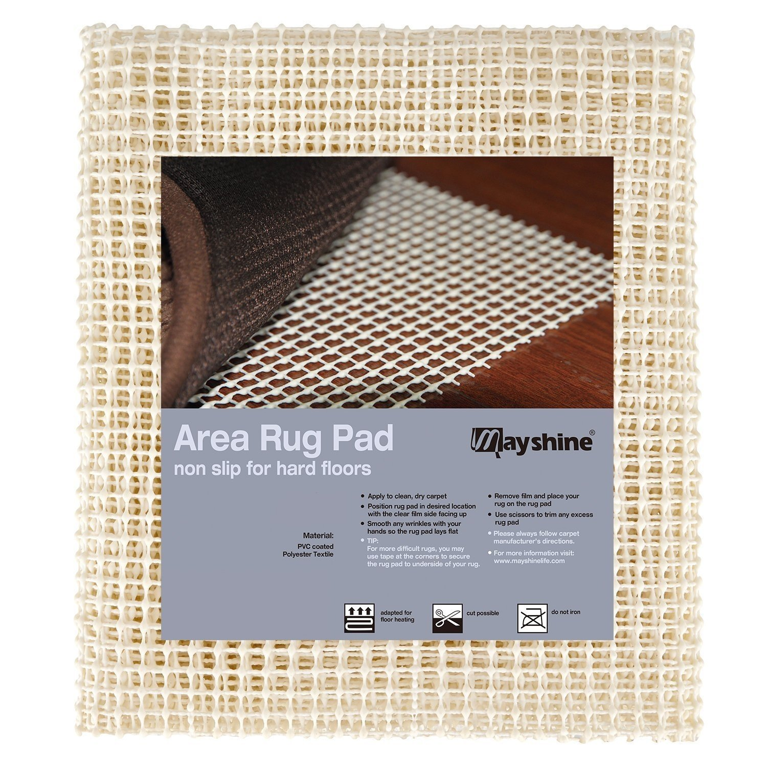 MAYSHINE Non-Slip Area Rug Pad Mat Underlay Multipurpose for Hard Surface Floor (1.4'x 2.4') MS17121913