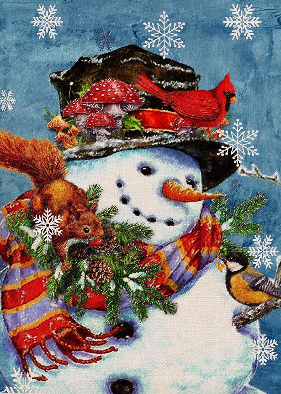 Furiaz Winter Snowman Garden Flag, Home Decorative House Yard Small Flag Cardinal Bird Squirrel Welcome Decor Sign Double Sided, Christmas Holiday Outdoor Decoration Xmas Seasonal Outside Flag 12 x 18