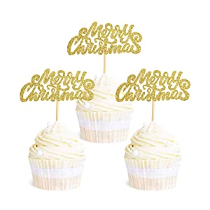 Ercadio 36 Pack Merry Christmas Cupcake Toppers God Glitter Holiday Xmas Cake Picks Decorations for Christmas Party Supplies