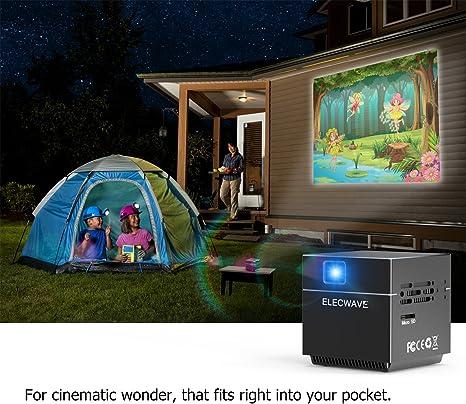 Cube vídeo proyector DLP con 120 Pulgadas Pantalla Soporte 1080 p, 100 Lúmenes Soporte WiFi conexión para Cine en casa/Parte/TV Show/iOS/Android Smartphone, Mini trípode (Cube proyector): Amazon.es: Electrónica