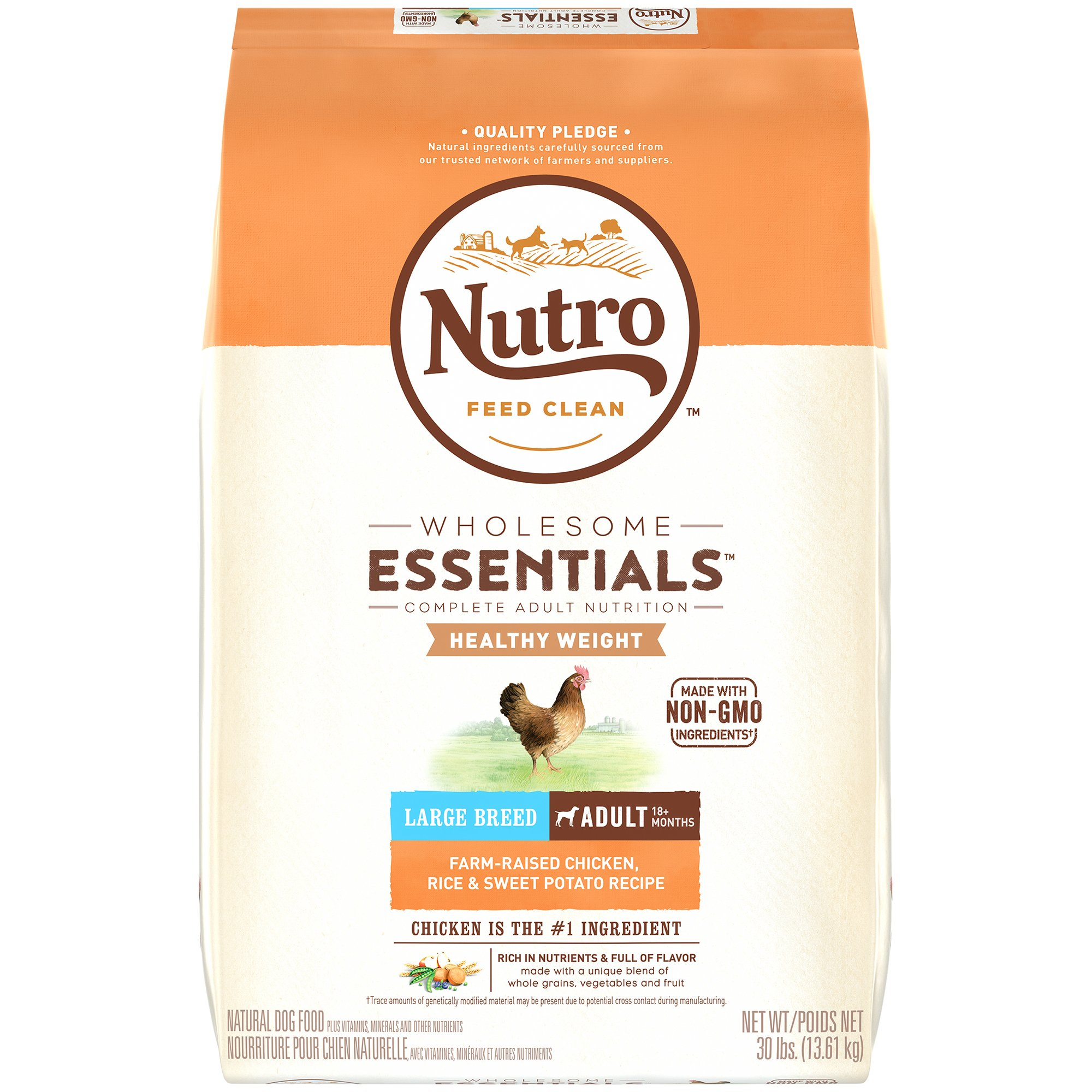 NUTRO WHOLESOME ESSENTIALS Natural Healthy Weight Adult Large Breed Dry Dog Food Farm-Raised Chicken, Rice & Sweet Potato Recipe, 30 lb. Bag by Nutro