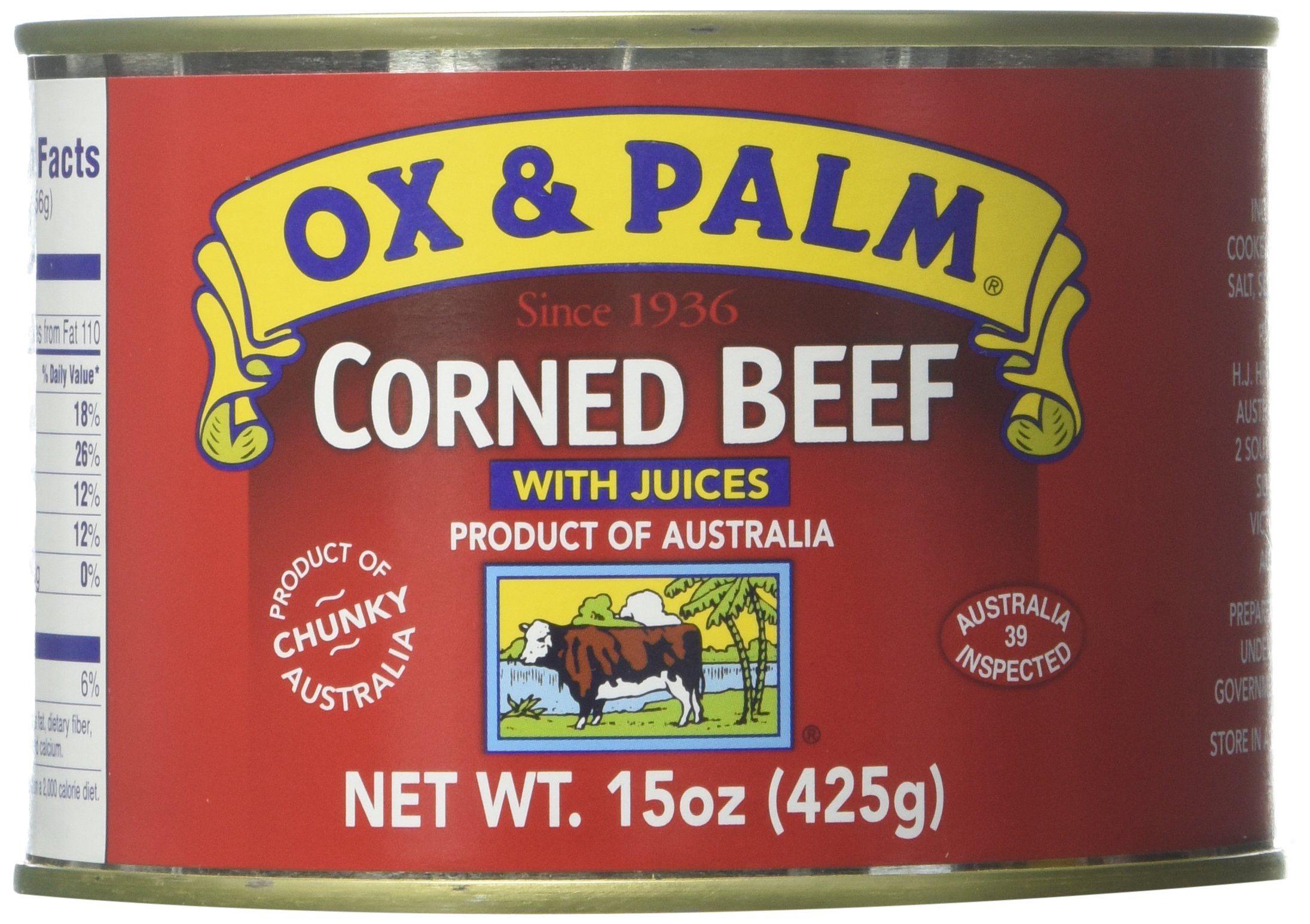 Ox & Palm Corned Beef with Juices, 15 Ounce