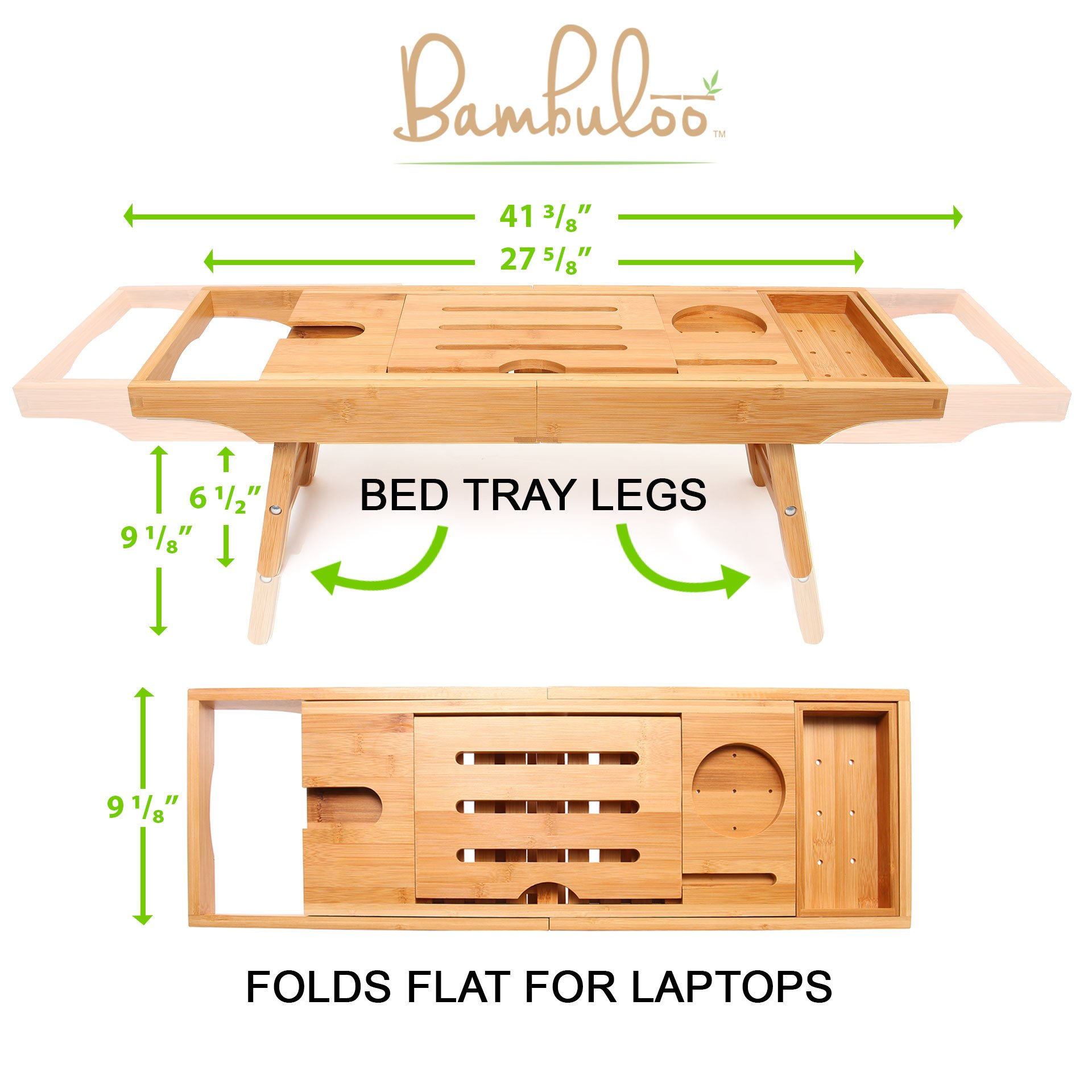 Bathtub Caddy and Bed Tray Combo - Premium Bamboo Wood with 2 Lavender Bath Bombs - Folding Legs/Fully Adjustable - Mold Resistant - Phone Tablet and Wine Holders for The Finest Home Spa Experience by Bambuloo (Image #7)