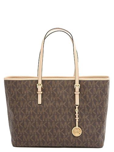 5d7d275fc1d6 MICHAEL Michael Kors Medium Jet Set Logo PVC Tote Brown: Handbags ...