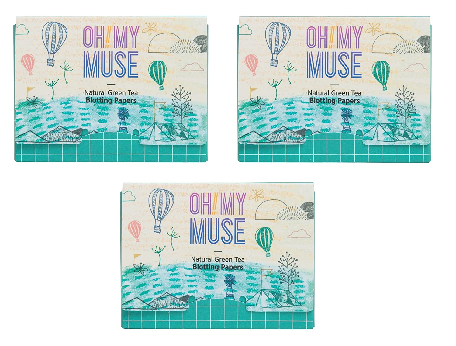 [Oh!My Muse] Natural Green Tea Oil Absorbing Sheets, Blotting Paper, 50 count (1 Pack) Ohmymuse OEM