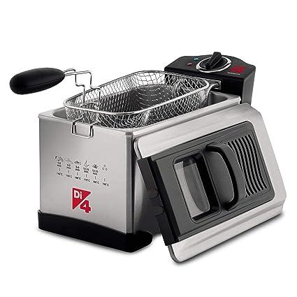 Di4 Fritagglia 3.0 - Freidora, 2000W, 3L, Resistencia sumergida, Tapa con filtro de Inox, Regulador de temperatura, Cuerpo, tapa y cubeta en Acero ...