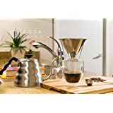 PreciseBrew Removable Stainless Steel Paperless Pour Over Coffee Dripper Set with Double Mesh Filter, Stand, and Coffee Scoop
