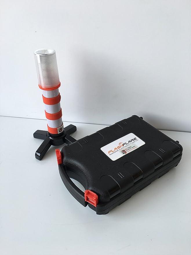 Blitz in rot UvV UVAC3817 LED FlashFlare Warnleuchten Set mit Fu/ß und St/änder 2 St/ück