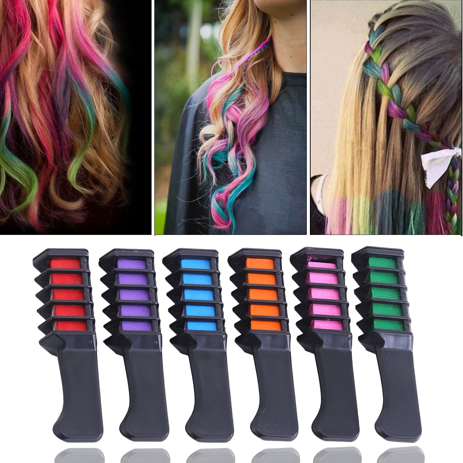 Hair Spray Chalk Comb Temporary Hair Color Dye Comb for Girls, Party,  Cosplay (6 Color)