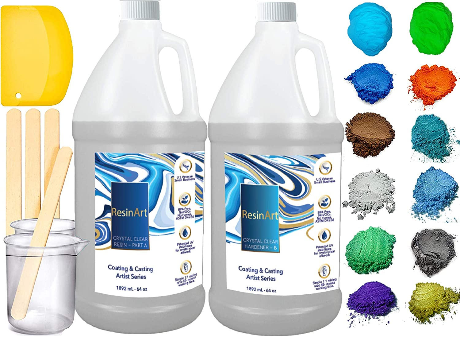 ResinArt 128oz Kit: Clear Casting & Coating Epoxy, 10 Mica Pigments, 2 Glow in The Dark Colors, 3 Accessories