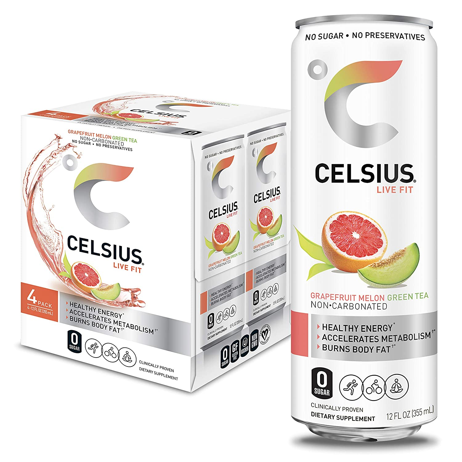 CELSIUS Grapefruit Melon Green Tea Non-Carbonated Fitness Drink
