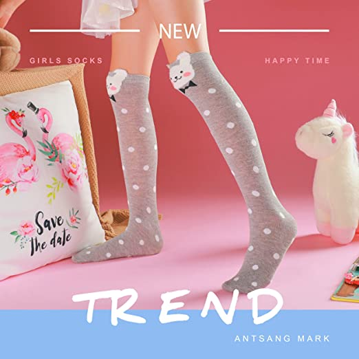6 Pairs Grey Girls Kids Back To School Plain Knee High Long Socks Cotton  KMJHYG