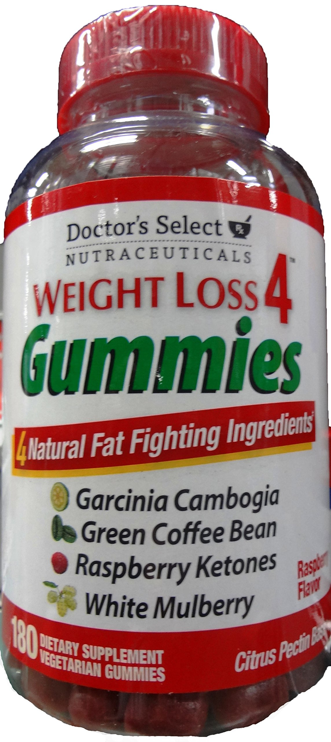Weight Loss 4, 180 CT Dietary Supplement Vegetarian Gummies, Raspberry Flavor