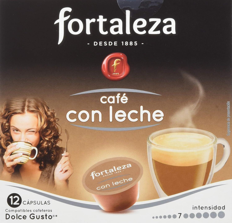 Café FORTALEZA - Cápsulas de Café Con Leche Compatibles con Dolce Gusto - Pack 4 x 12 - Total 48 cápsulas