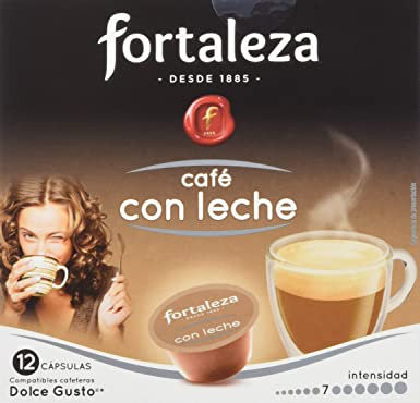 Café FORTALEZA - Cápsulas de Café Con Leche Compatibles con Dolce Gusto - Pack 4 x