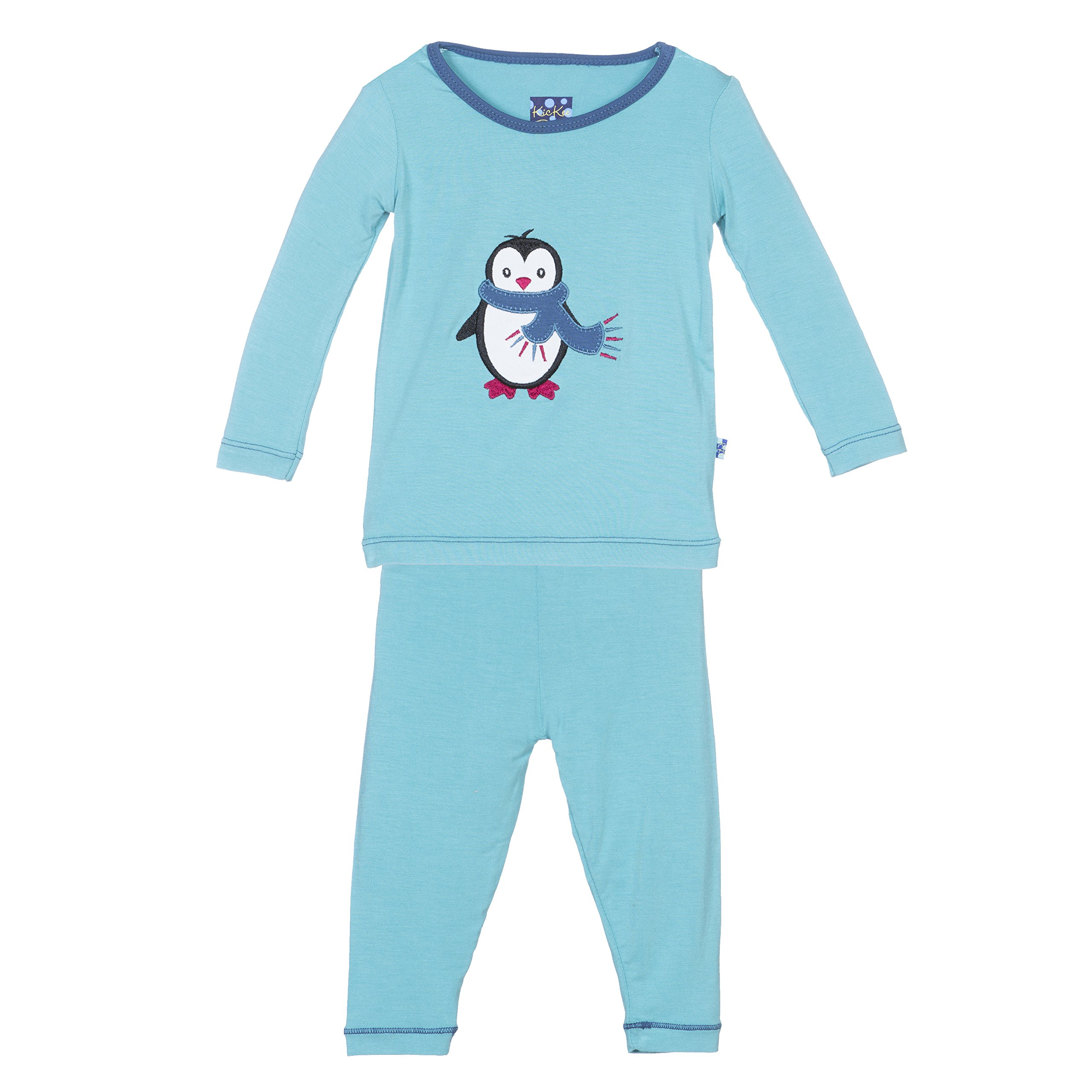 KicKee Pants Little Boys Holiday Long Sleeve Applique Pajama Set, Glacier Penguin, 18-24 Months by Kickee Pants