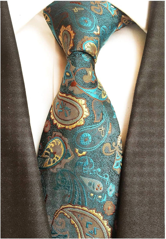 BomGuard Herren Krawatte Paisley 8 cm breit Schlips mit Blumen-Muster