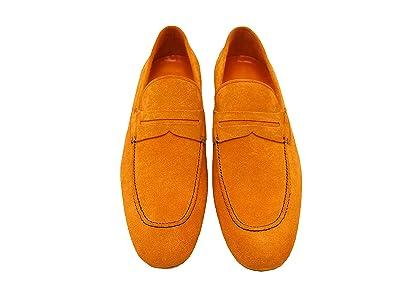 Sir Men's Leather Dress Shoes - Elan Orange Slip-On Leather Loafers