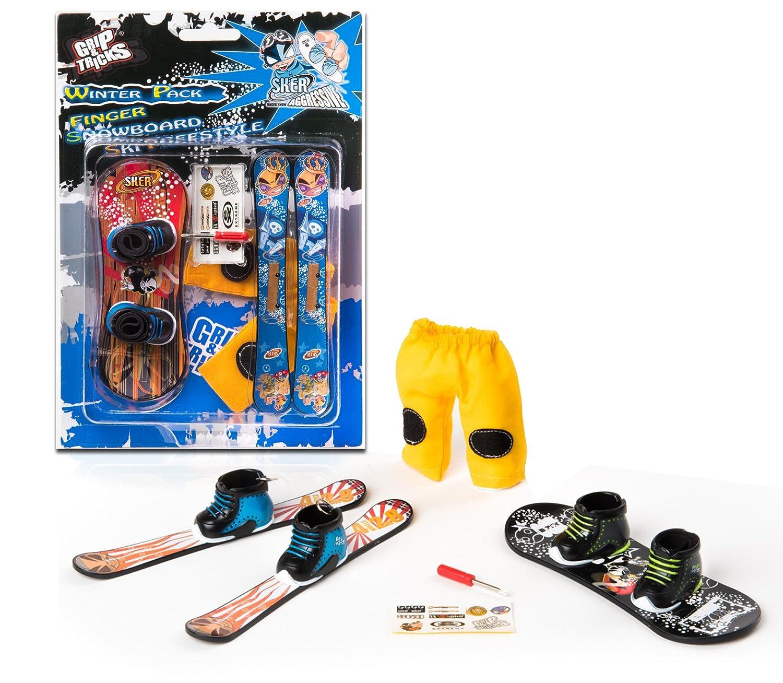 Grip Tricks Finger Winter Pack 1 Finger Snowboard Ski Freestyle Mini Snowboard and Ski Frestyle