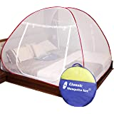 Classic Mosquito Net Foldable King Size, Double Bed with Saviours - (Red)