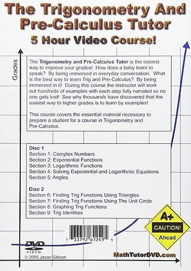 Amazon.com: The Trigonometry and Pre-Calculus Tutor - 2 DVD Set ...