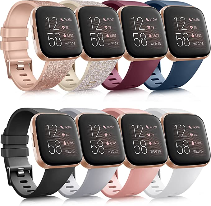 8 Pack Sport Bands Compatible with Fitbit Versa 2 / Fitbit Versa/Versa Lite/Versa SE, Classic Soft Silicone Replacement Wristbands Straps for Fitbit Versa 2 Smart Watch Women Men (8 Pack A, Small) | Amazon