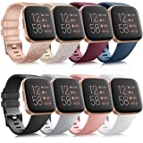 8 Pack Sport Bands Compatible with Fitbit Versa 2 / Fitbit Versa/Versa Lite/Versa SE, Classic Soft Silicone Replacement Wrist