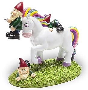 "BigMouth Inc. The Unicorn Garden Gnome Massacre Statue - Fantasy Unicorn Themed Weatherproof Garden Decoration, Makes a Great Gag Gift - 9"" Tall"