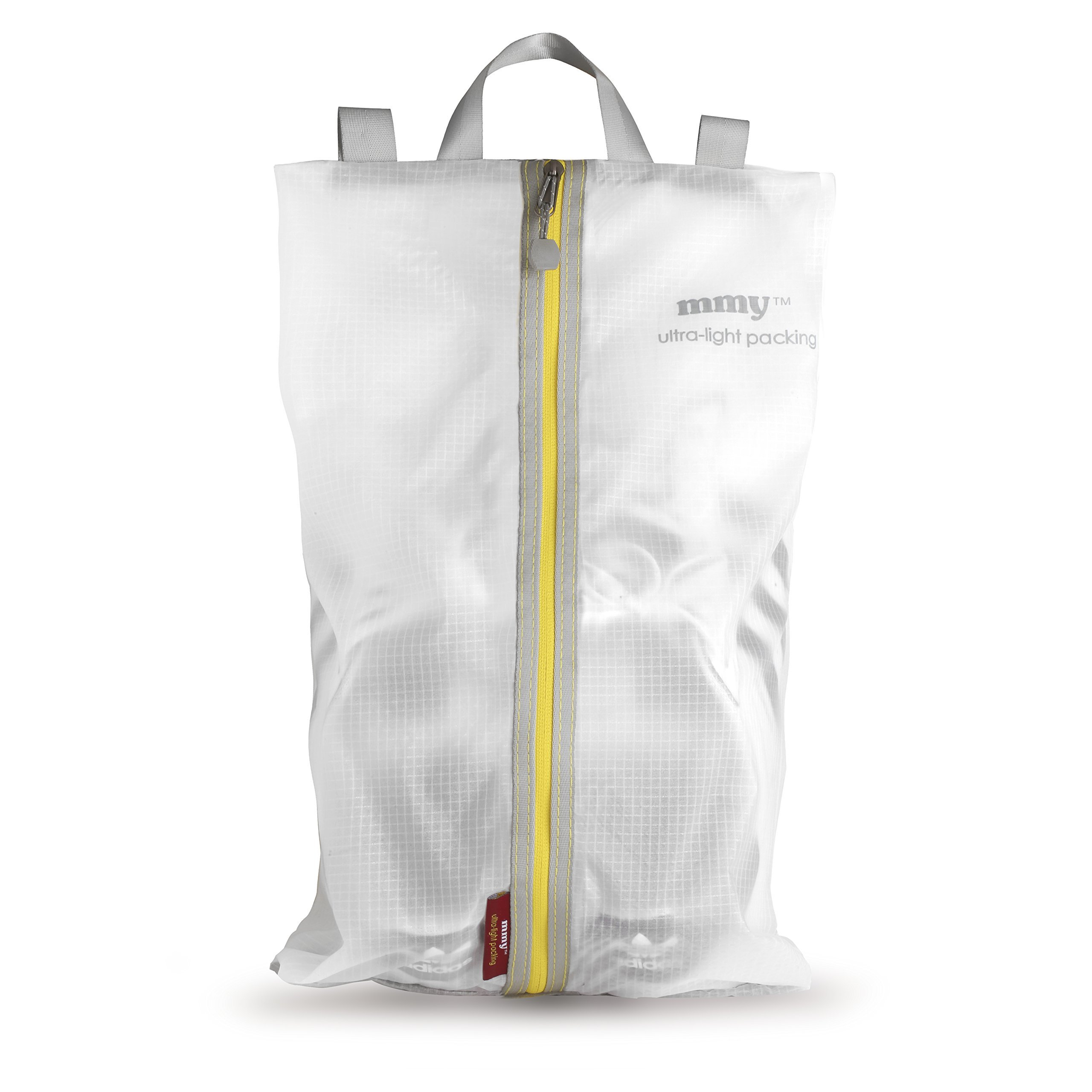 mmyTM Ultra Light Packing Shoe Sac, White/Lemon Yellow