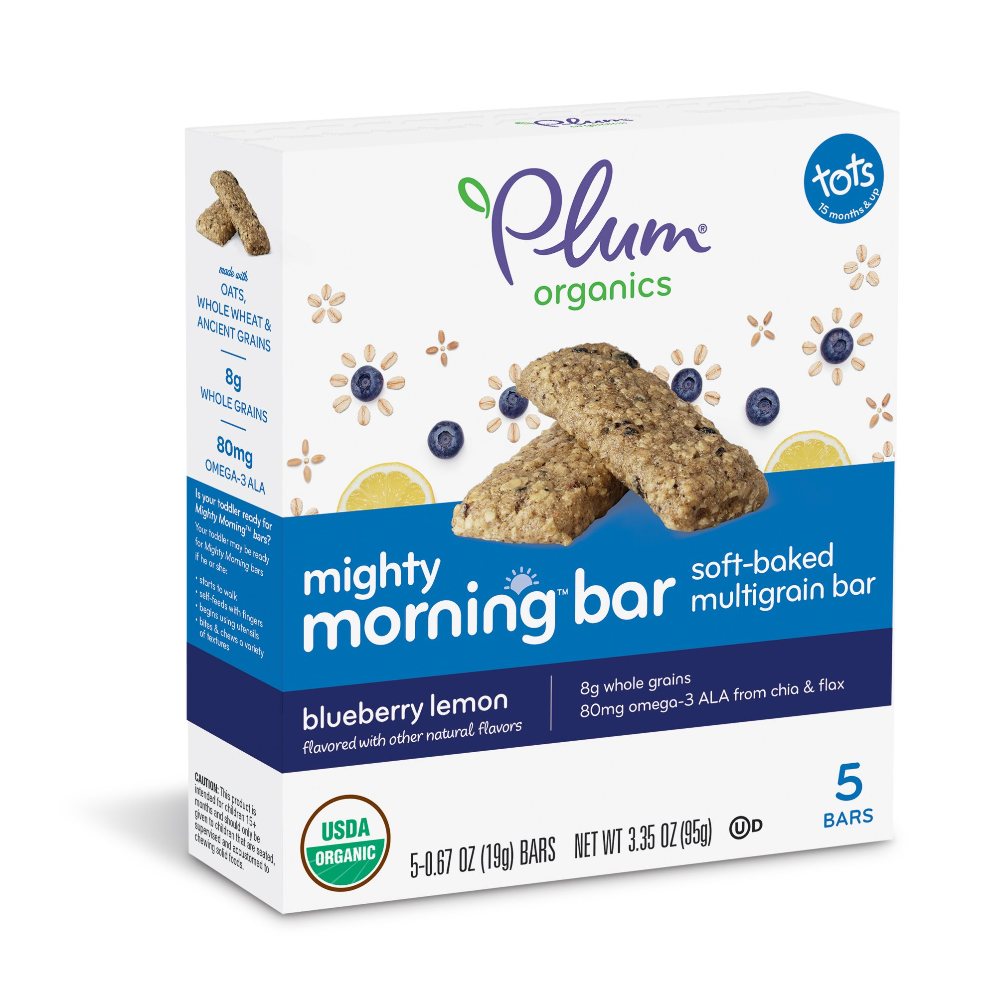 Plum Organics Mighty Morning, Organic Toddler Bar, Blueberry Lemon, 3.35 Ounce (Pack of 8) by Plum Organics