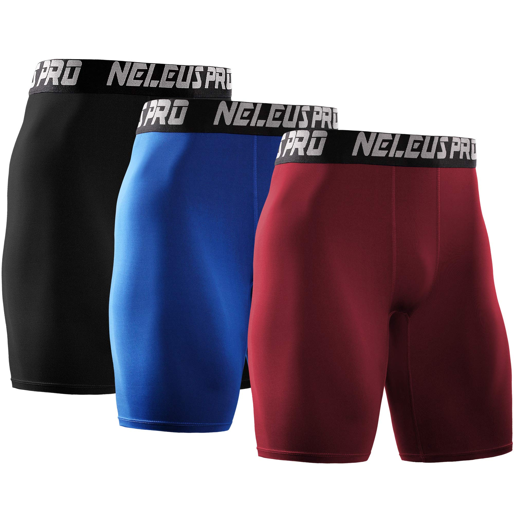 Neleus Men's 3 Pack Athletic Compression Short,6028,Black,Blue,Red,US XL,EU 2XL by Neleus
