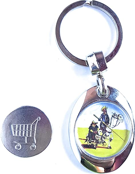 ValmoniSport Llavero con Moneda Sujeta por Imán para Carro con Imagen del Quijote, Sancho y Rocinante de España Toledo Super 825.: Amazon.es: Equipaje