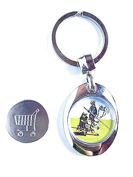 ValmoniSport Llavero con Moneda Sujeta por Imán para Carro con Imagen del Quijote, Sancho y Rocinante de España Toledo Super 825.