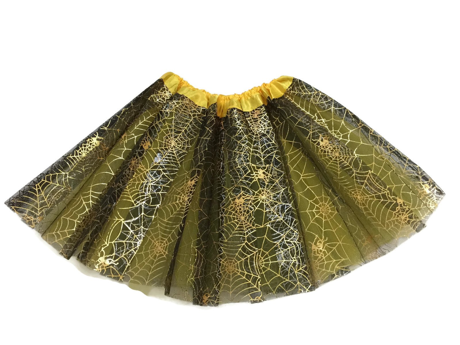 - 81RsDIyaZGL - Rush Dance Ballerina Recital Halloween Yellow & Black Spider Webs Costume Tutu