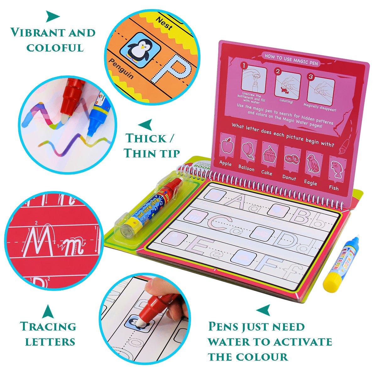 BBLIKE Livre Magique Eau Peindre Jouet R/éutilisable pour Les Enfants d/écriture et de Dessin A Un Livre Plus 2 stylos deau Magique,Convient 2//3//4//5an s