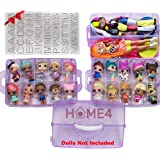 HOME4 No BPA Storage Organizer Carrying Case Box 30 Adjustable Compartments Compatible with Small Dolls LOL Toys Bead…