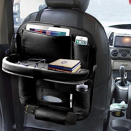1x Black PU Leather Multi-use Car Seat Back Organizers Bag Interior Accessories